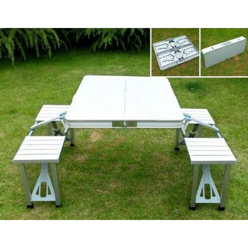 Table de piquenique portable en aluminium avec 4 chaises for Piscine portable algerie